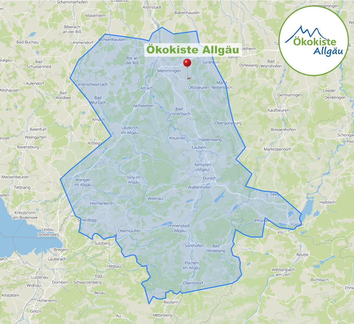 Liefergebiet Ökokiste Allgäu April 2021